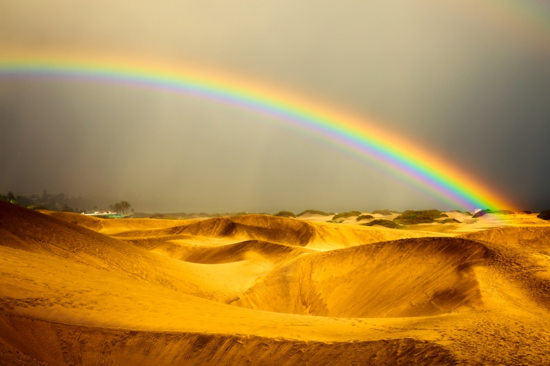 'landscape, rainbow and dunes on Gran Canaries desert' - Gran Canaria Island
